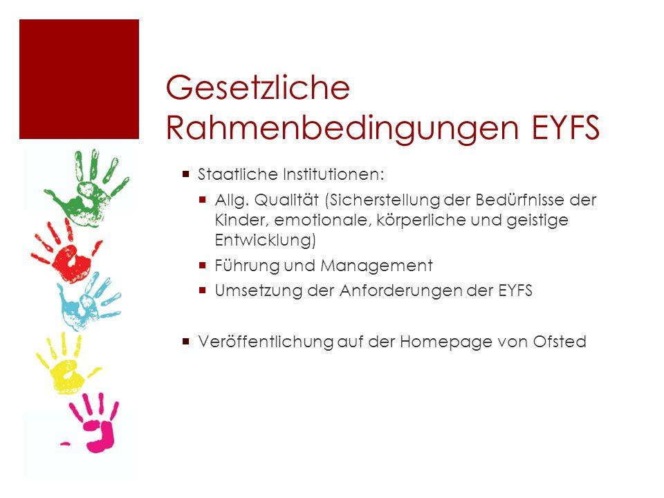 Gesetzliche Rahmenbedingungen EYFS  Staatliche Institutionen:  Allg.