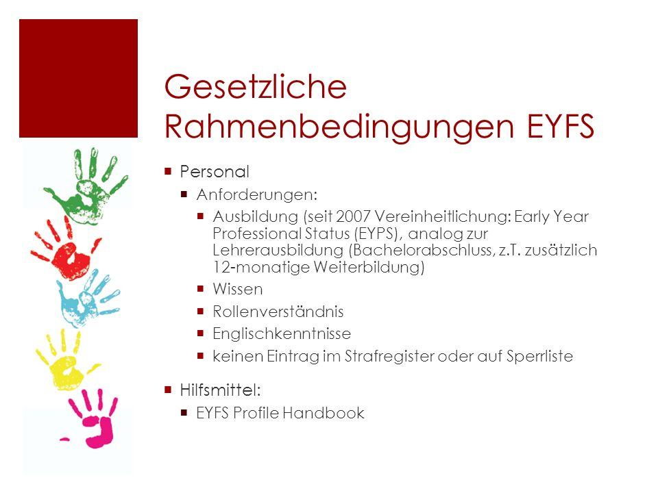 Gesetzliche Rahmenbedingungen EYFS  Personal  Anforderungen:  Ausbildung (seit 2007 Vereinheitlichung: Early Year Professional Status (EYPS), analog zur Lehrerausbildung (Bachelorabschluss, z.T.
