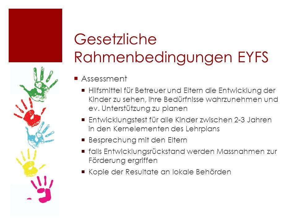Gesetzliche Rahmenbedingungen EYFS  Assessment  Hilfsmittel für Betreuer und Eltern die Entwicklung der Kinder zu sehen, ihre Bedürfnisse wahrzunehmen und ev.