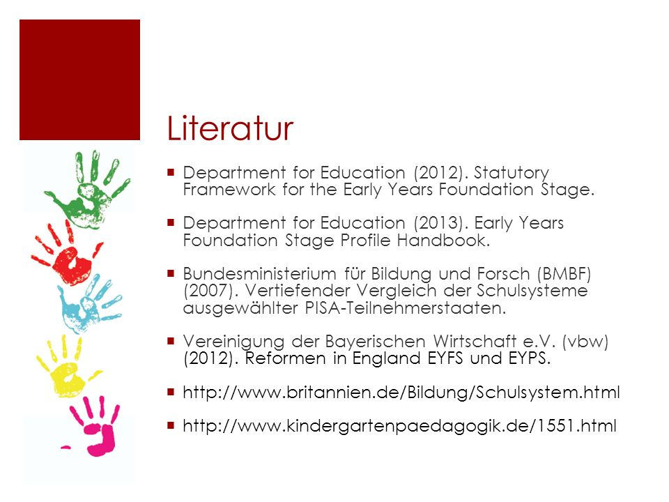 Literatur  Department for Education (2012).