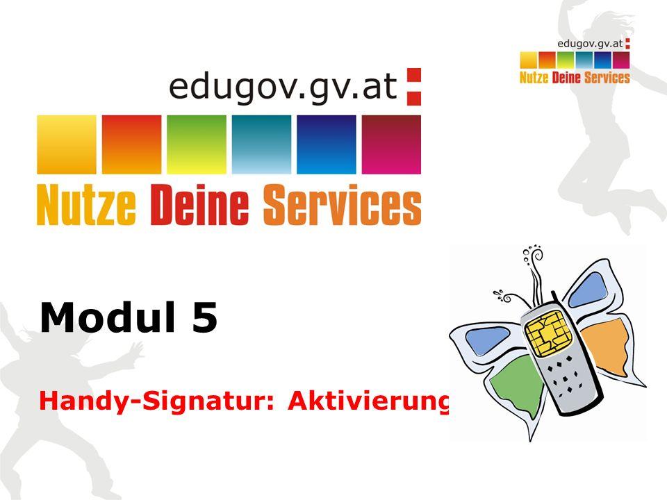 Modul 5 Handy-Signatur: Aktivierung
