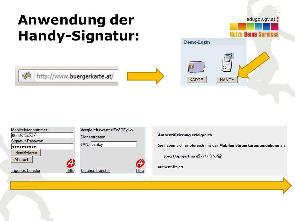 Anwendung der Handy-Signatur: