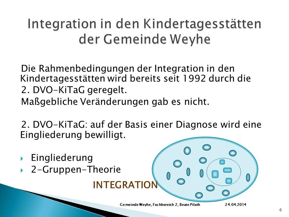 Die Rahmenbedingungen der Integration in den Kindertagesstätten wird bereits seit 1992 durch die 2.