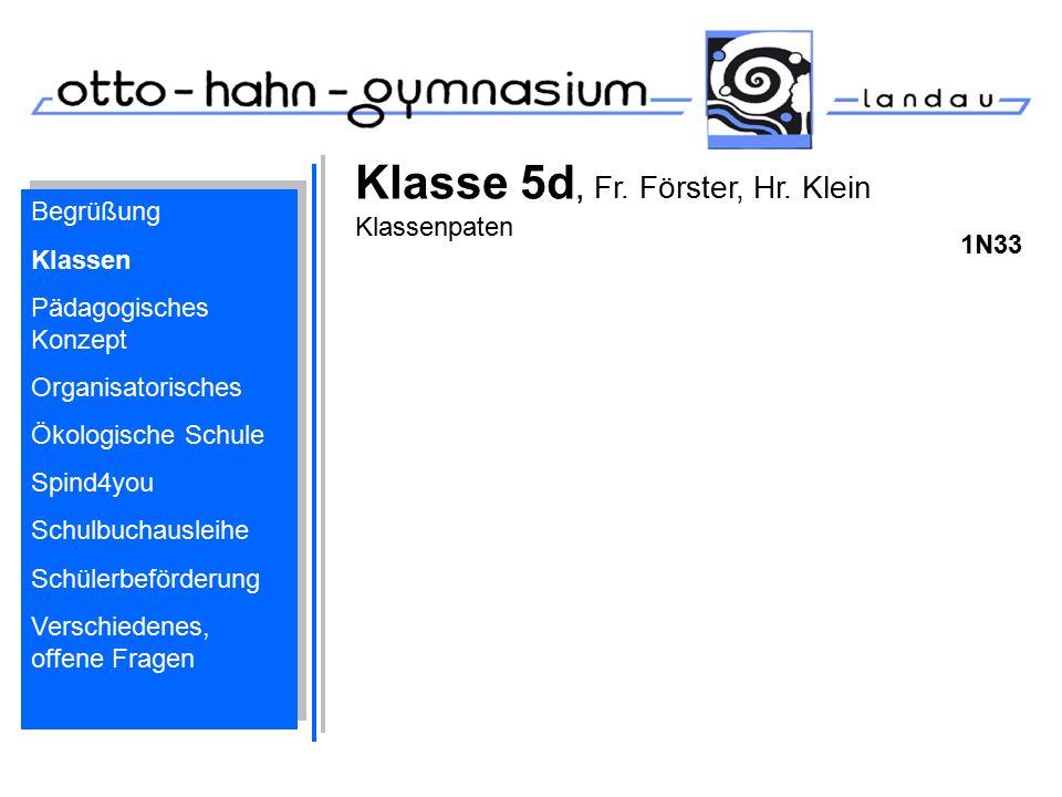 Klasse 5d, Fr. Förster, Hr. Klein Klassenpaten 1N33 Begrüßung Klassen Pädagogisches Konzept Organisatorisches Ökologische Schule Spind4you Schulbuchau