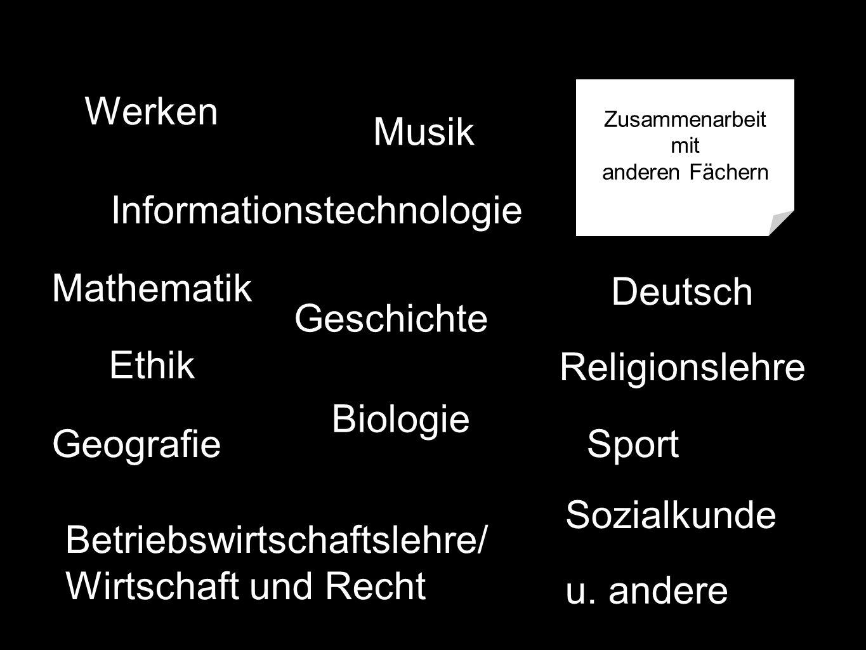 Werken Informationstechnologie Deutsch Mathematik Ethik Religionslehre Geografie Biologie Sozialkunde Betriebswirtschaftslehre/ Wirtschaft und Recht Musik Sport Zusammenarbeit mit anderen Fächern Geschichte u.