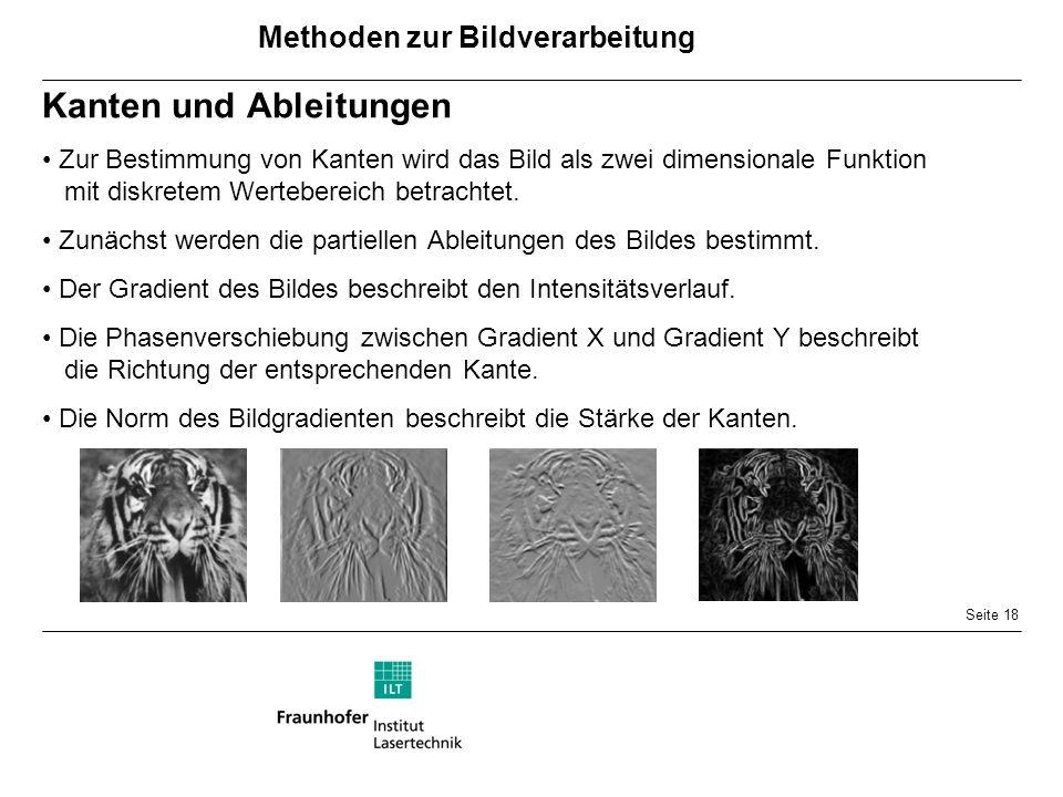 Seite 18 Kanten und Ableitungen Zur Bestimmung von Kanten wird das Bild als zwei dimensionale Funktion mit diskretem Wertebereich betrachtet.