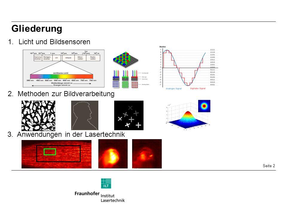 Seite 2 Gliederung 1.Licht und Bildsensoren 2. Methoden zur Bildverarbeitung 3.