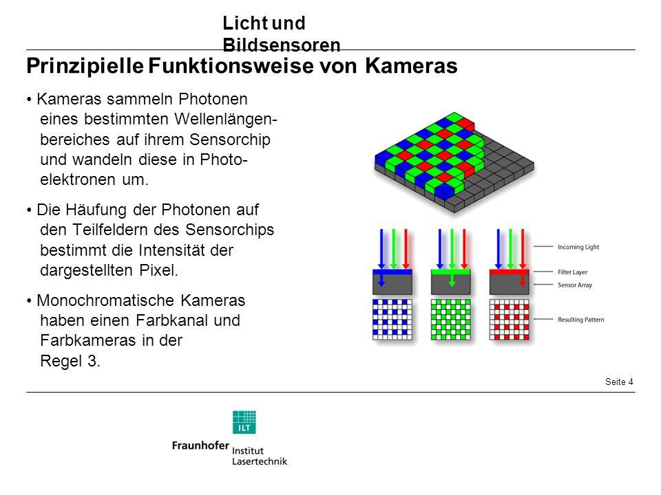 Seite 4 Prinzipielle Funktionsweise von Kameras Kameras sammeln Photonen eines bestimmten Wellenlängen- bereiches auf ihrem Sensorchip und wandeln diese in Photo- elektronen um.