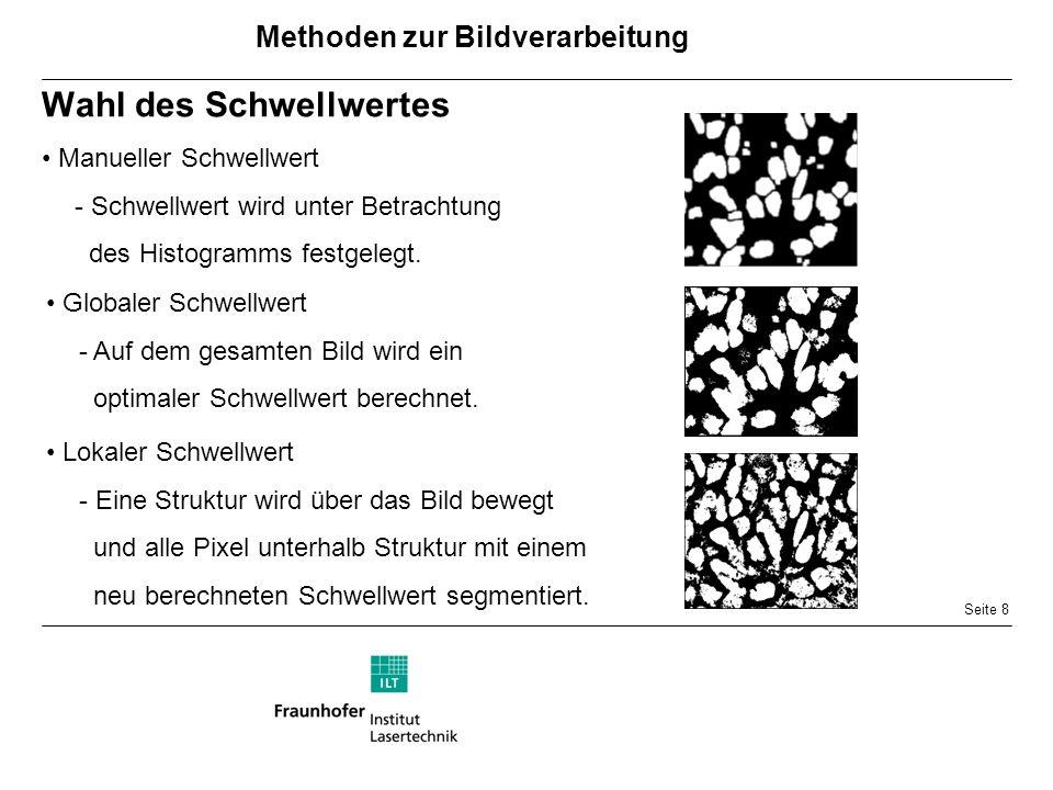 Seite 8 Wahl des Schwellwertes Manueller Schwellwert - Schwellwert wird unter Betrachtung des Histogramms festgelegt.