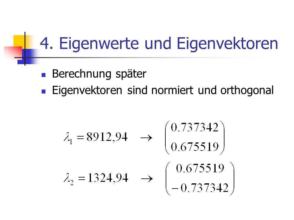 4. Eigenwerte und Eigenvektoren Berechnung später Eigenvektoren sind normiert und orthogonal