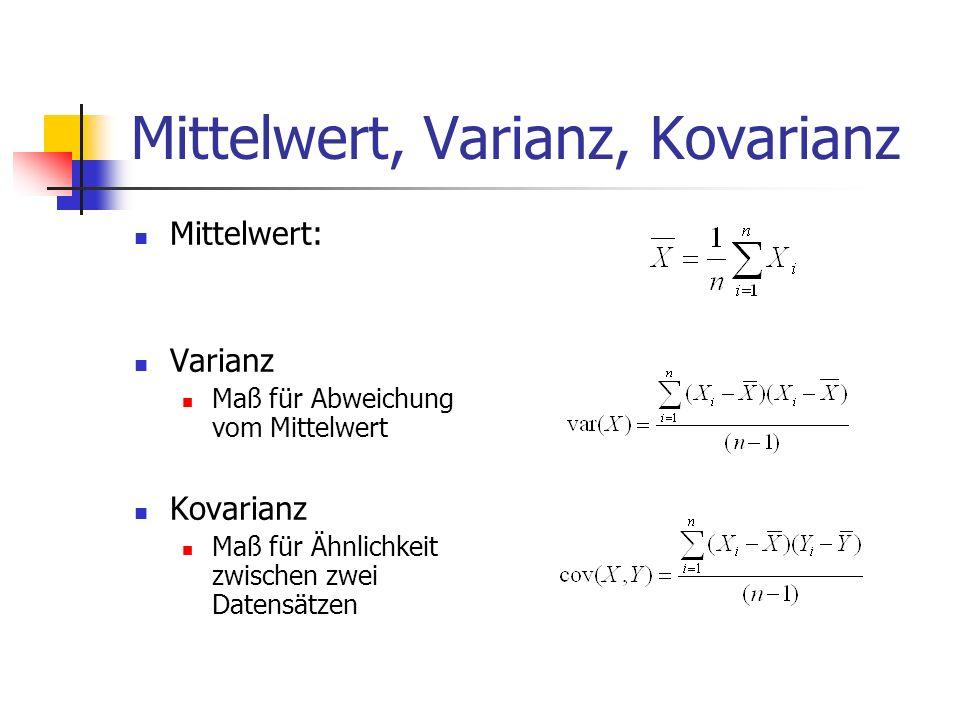 Mittelwert, Varianz, Kovarianz Mittelwert: Varianz Maß für Abweichung vom Mittelwert Kovarianz Maß für Ähnlichkeit zwischen zwei Datensätzen