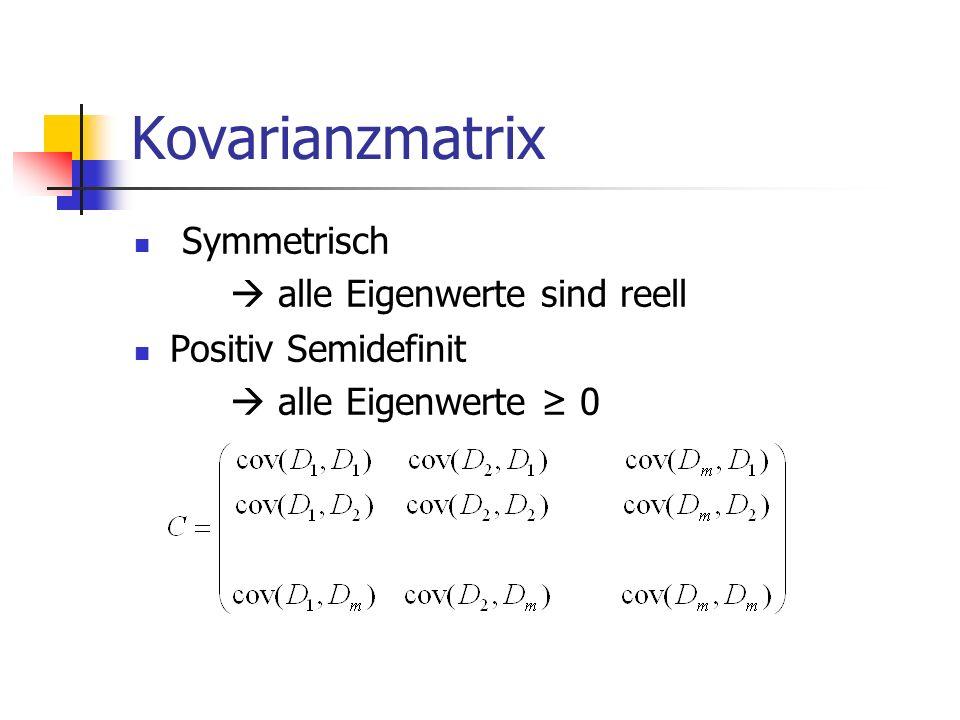 Kovarianzmatrix Symmetrisch  alle Eigenwerte sind reell Positiv Semidefinit  alle Eigenwerte ≥ 0