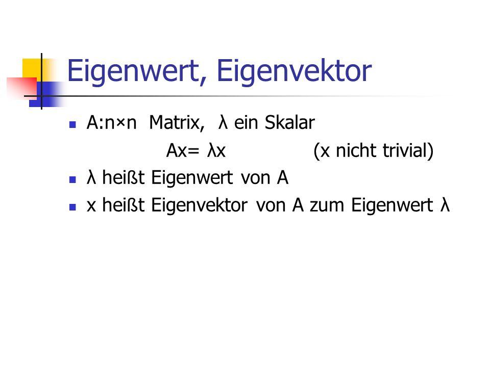 Eigenwert, Eigenvektor A:n×n Matrix, λ ein Skalar Ax= λx(x nicht trivial) λ hei ß t Eigenwert von A x hei ß t Eigenvektor von A zum Eigenwert λ