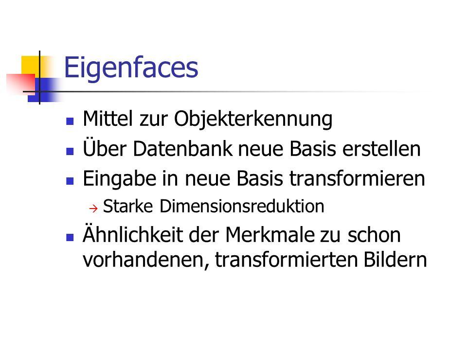Eigenfaces Mittel zur Objekterkennung Über Datenbank neue Basis erstellen Eingabe in neue Basis transformieren  Starke Dimensionsreduktion Ähnlichkeit der Merkmale zu schon vorhandenen, transformierten Bildern
