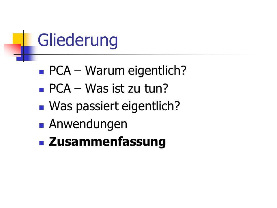 Gliederung PCA – Warum eigentlich.PCA – Was ist zu tun.