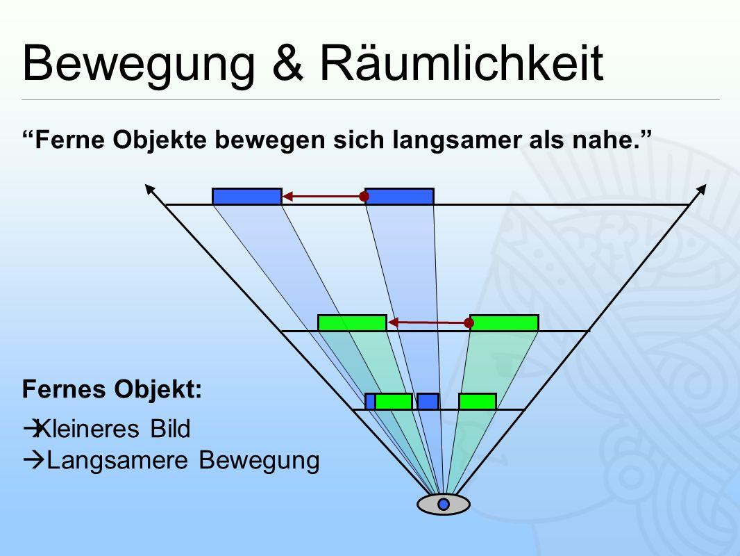 """Bewegung & Räumlichkeit """"Ferne Objekte bewegen sich langsamer als nahe."""" Fernes Objekt:  Kleineres Bild  Langsamere Bewegung"""