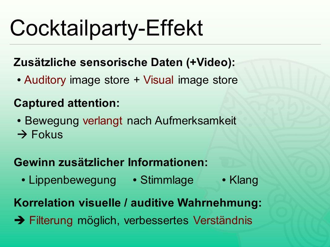 Cocktailparty-Effekt Zusätzliche sensorische Daten (+Video): ∙ Auditory image store + Visual image store Captured attention: ∙ Bewegung verlangt nach
