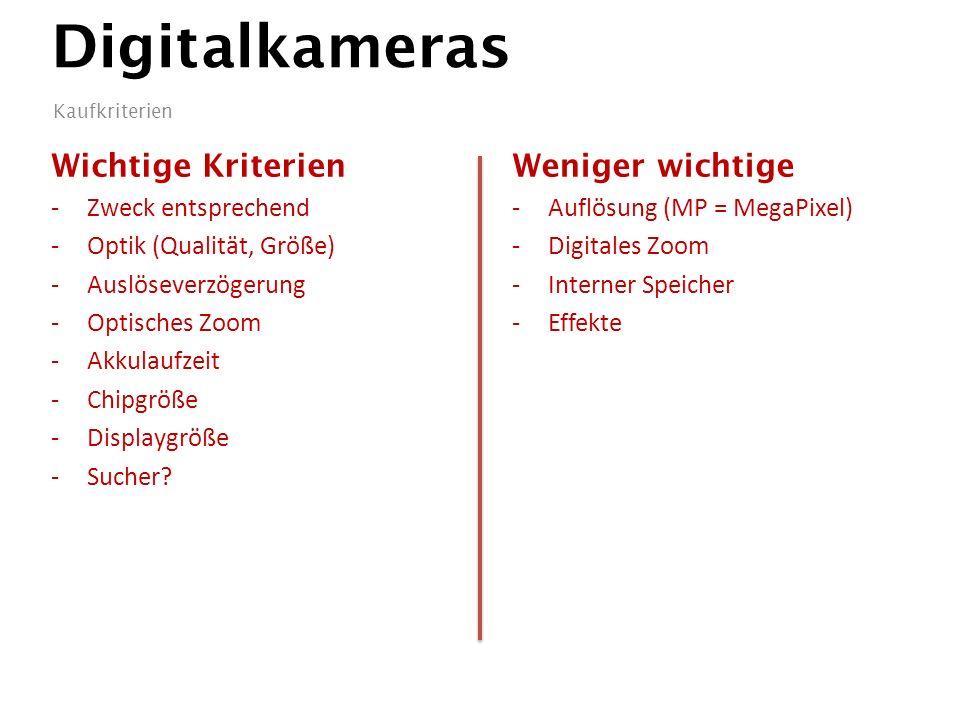 Digitalkameras Wichtige Kriterien -Zweck entsprechend -Optik (Qualität, Größe) -Auslöseverzögerung -Optisches Zoom -Akkulaufzeit -Chipgröße -Displaygröße -Sucher.