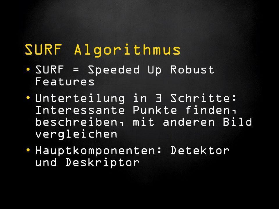 SURF Algorithmus SURF = Speeded Up Robust Features Unterteilung in 3 Schritte: Interessante Punkte finden, beschreiben, mit anderen Bild vergleichen Hauptkomponenten: Detektor und Deskriptor