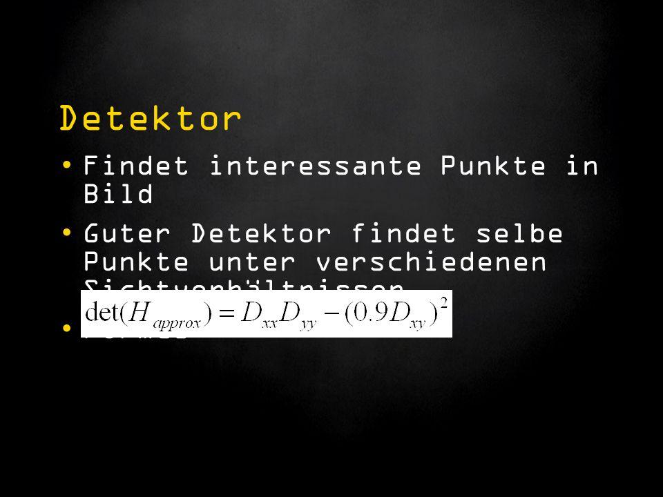 Detektor Findet interessante Punkte in Bild Guter Detektor findet selbe Punkte unter verschiedenen Sichtverhältnissen Formel: