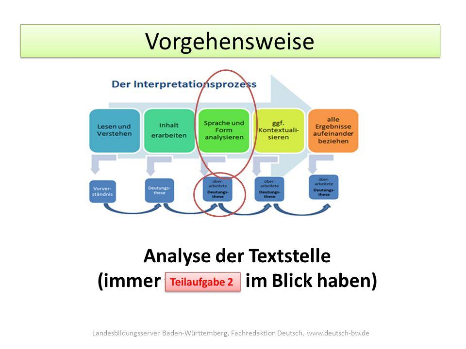 Vorgehensweise Analyse der Textstelle (immer Teilaufgabe 2 im Blick haben) Landesbildungsserver Baden-Württemberg, Fachredaktion Deutsch, www.deutsch-bw.de