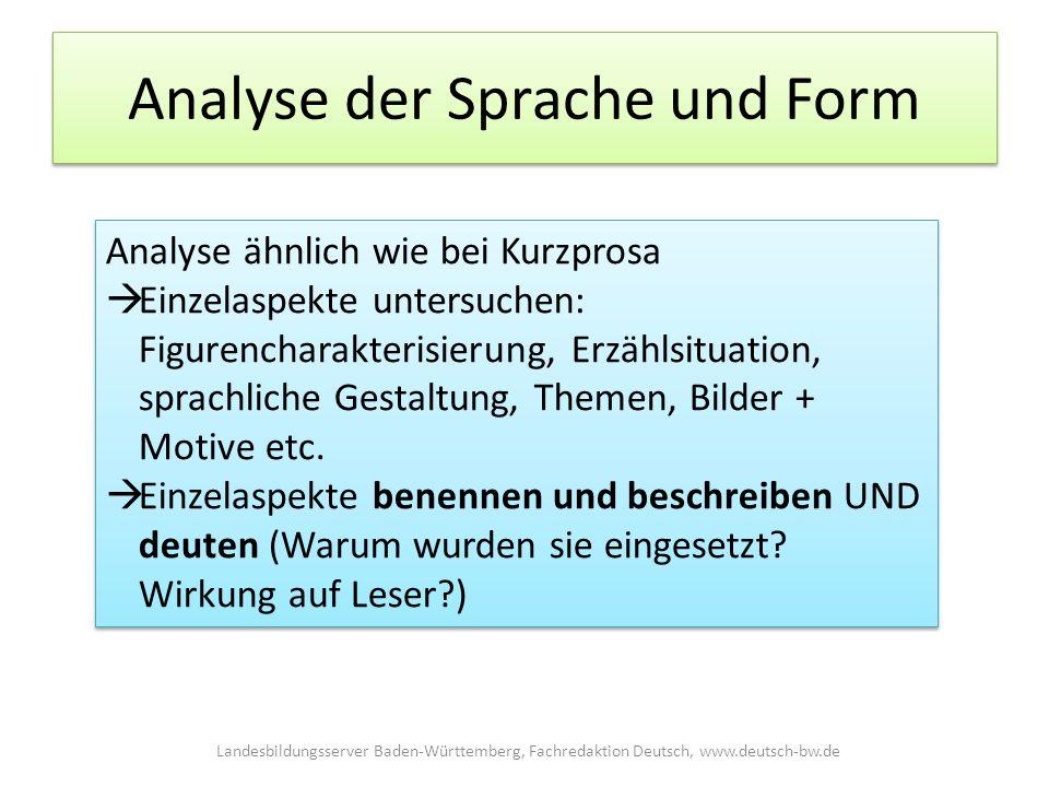 Analyse der Sprache und Form Analyse ähnlich wie bei Kurzprosa  Einzelaspekte untersuchen: Figurencharakterisierung, Erzählsituation, sprachliche Gestaltung, Themen, Bilder + Motive etc.
