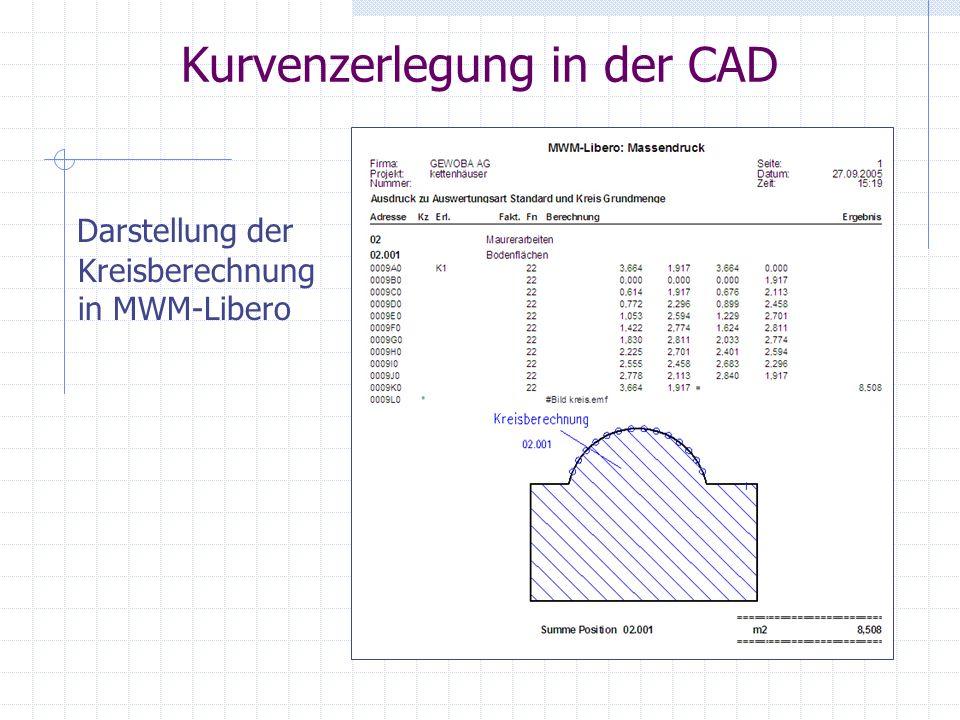 Kurvenzerlegung in der CAD Darstellung der Kreisberechnung in MWM-Libero