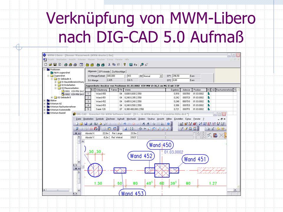 Verknüpfung von MWM-Libero nach DIG-CAD 5.0 Aufmaß