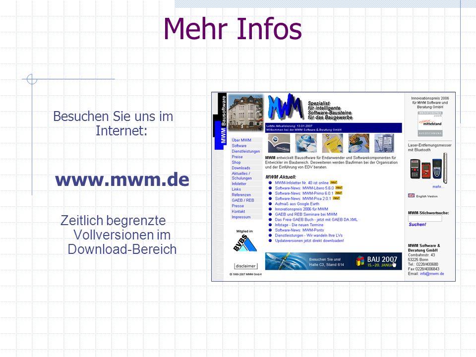 Mehr Infos Besuchen Sie uns im Internet: www.mwm.de Zeitlich begrenzte Vollversionen im Download-Bereich