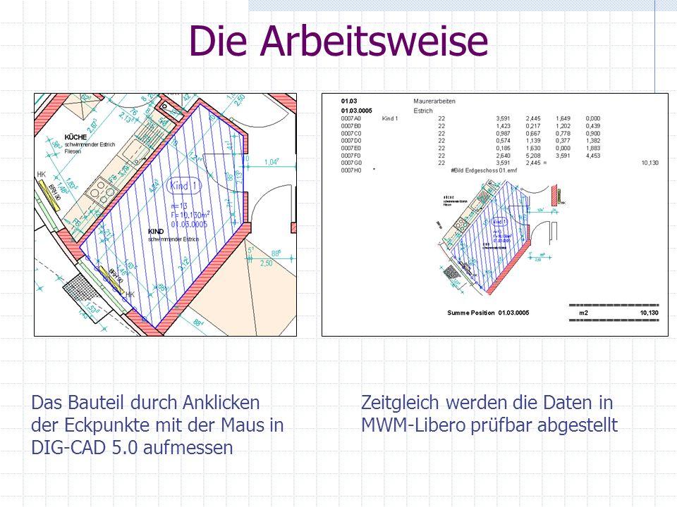 Die Arbeitsweise Das Bauteil durch Anklicken der Eckpunkte mit der Maus in DIG-CAD 5.0 aufmessen Zeitgleich werden die Daten in MWM-Libero prüfbar abgestellt