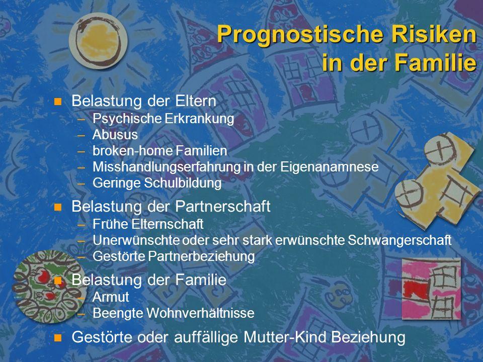 Prognostische Risiken in der Familie n n Belastung der Eltern – –Psychische Erkrankung – –Abusus – –broken-home Familien – –Misshandlungserfahrung in