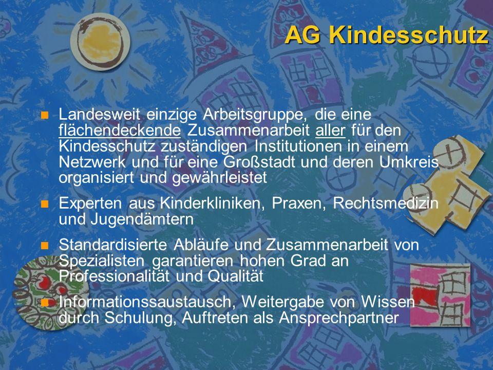 AG Kindesschutz n n Landesweit einzige Arbeitsgruppe, die eine flächendeckende Zusammenarbeit aller für den Kindesschutz zuständigen Institutionen in