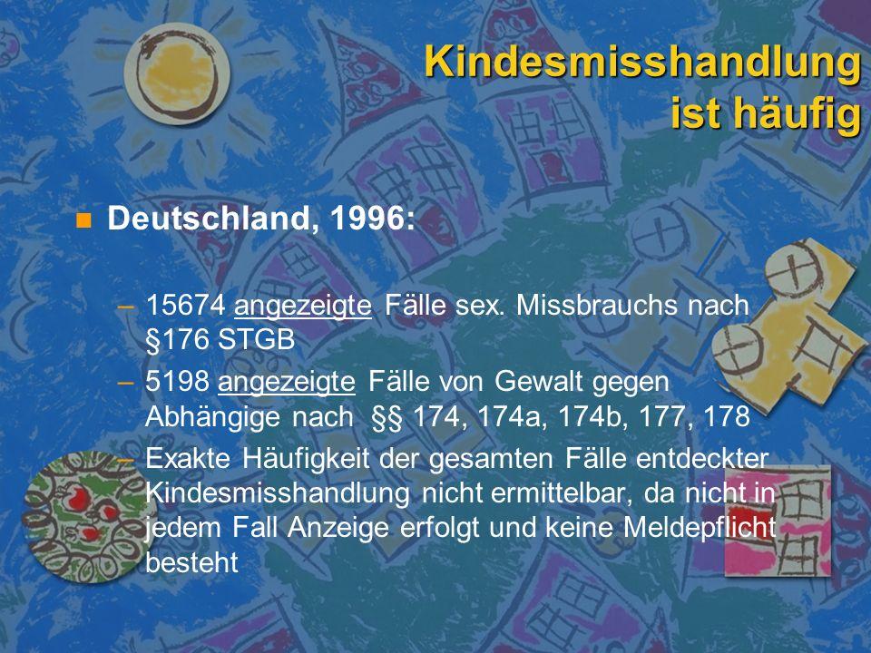 Kindesmisshandlung ist häufig n n Die Dunkelziffer in Deutschland ist hoch (30 bis 60% der bekannten Fälle) n n Sterblichkeit nach Kindesmisshandlung in Deutschland (Kinder unter 15 Jahren): n n 0,6 von 100 000 Kindern / Jahr n n gesamt 523 / Jahr n n davon 148 im 1.