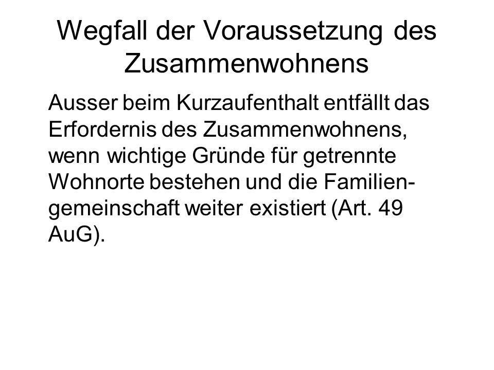 Rechtslage nach Auflösung der Familiengemeinschaft Art.