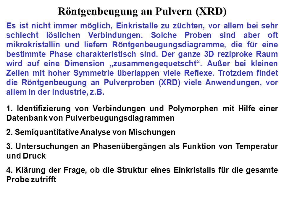 Das Debye-Scherrer-Verfahren (Göttingen, 1915) Da die Mikrokristalle sich in allen möglichen Orientierungen befinden, besteht das Beugungsmuster aus konzentrischen Kegeln mit Beugungswinkeln 2 .