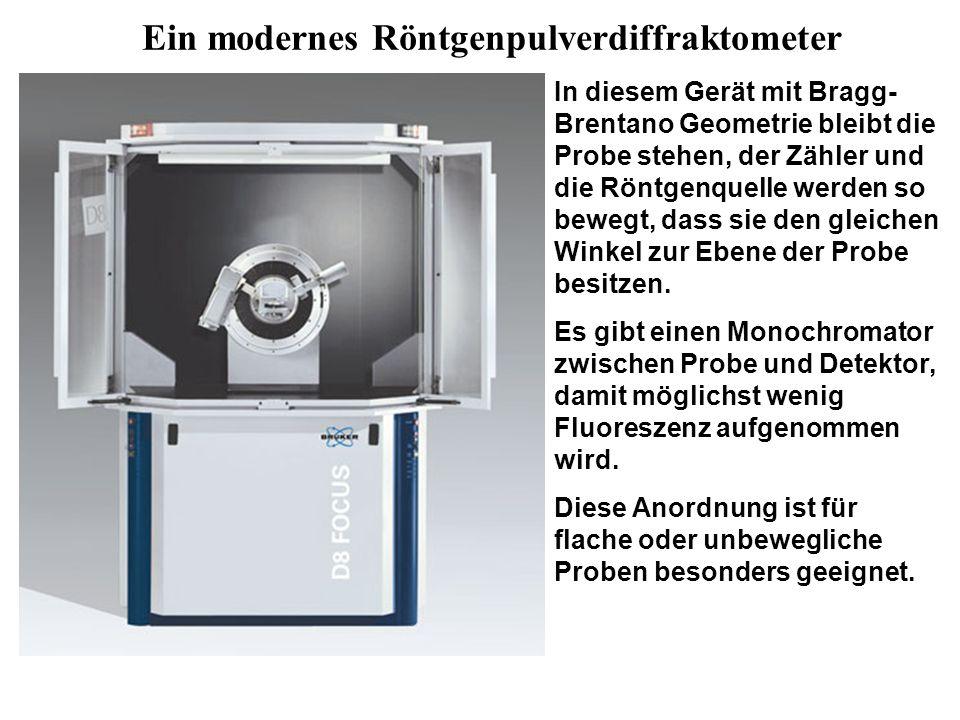 Ein modernes Röntgenpulverdiffraktometer In diesem Gerät mit Bragg- Brentano Geometrie bleibt die Probe stehen, der Zähler und die Röntgenquelle werden so bewegt, dass sie den gleichen Winkel zur Ebene der Probe besitzen.