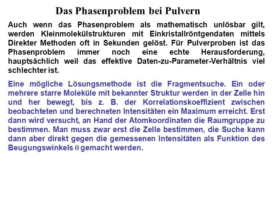 Das Phasenproblem bei Pulvern Auch wenn das Phasenproblem als mathematisch unlösbar gilt, werden Kleinmolekülstrukturen mit Einkristallröntgendaten mittels Direkter Methoden oft in Sekunden gelöst.