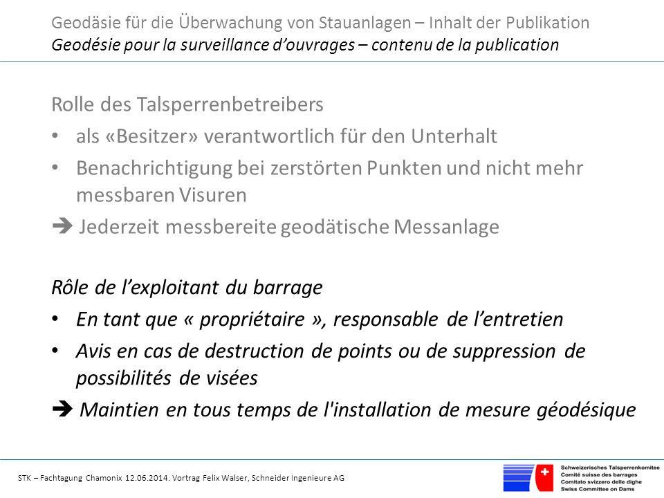 STK – Fachtagung Chamonix 12.06.2014. Vortrag Felix Walser, Schneider Ingenieure AG Rolle des Talsperrenbetreibers als «Besitzer» verantwortlich für d