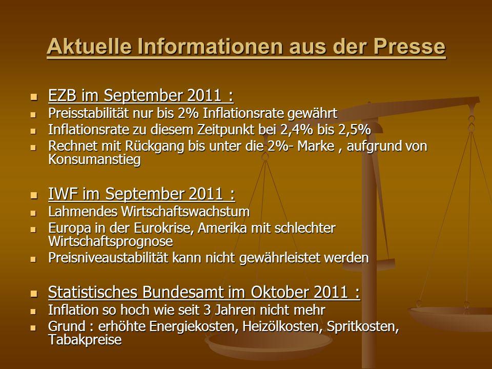 Aktuelle Informationen aus der Presse EZB im September 2011 : EZB im September 2011 : Preisstabilität nur bis 2% Inflationsrate gewährt Preisstabilität nur bis 2% Inflationsrate gewährt Inflationsrate zu diesem Zeitpunkt bei 2,4% bis 2,5% Inflationsrate zu diesem Zeitpunkt bei 2,4% bis 2,5% Rechnet mit Rückgang bis unter die 2%- Marke, aufgrund von Konsumanstieg Rechnet mit Rückgang bis unter die 2%- Marke, aufgrund von Konsumanstieg IWF im September 2011 : IWF im September 2011 : Lahmendes Wirtschaftswachstum Lahmendes Wirtschaftswachstum Europa in der Eurokrise, Amerika mit schlechter Wirtschaftsprognose Europa in der Eurokrise, Amerika mit schlechter Wirtschaftsprognose Preisniveaustabilität kann nicht gewährleistet werden Preisniveaustabilität kann nicht gewährleistet werden Statistisches Bundesamt im Oktober 2011 : Statistisches Bundesamt im Oktober 2011 : Inflation so hoch wie seit 3 Jahren nicht mehr Inflation so hoch wie seit 3 Jahren nicht mehr Grund : erhöhte Energiekosten, Heizölkosten, Spritkosten, Tabakpreise Grund : erhöhte Energiekosten, Heizölkosten, Spritkosten, Tabakpreise