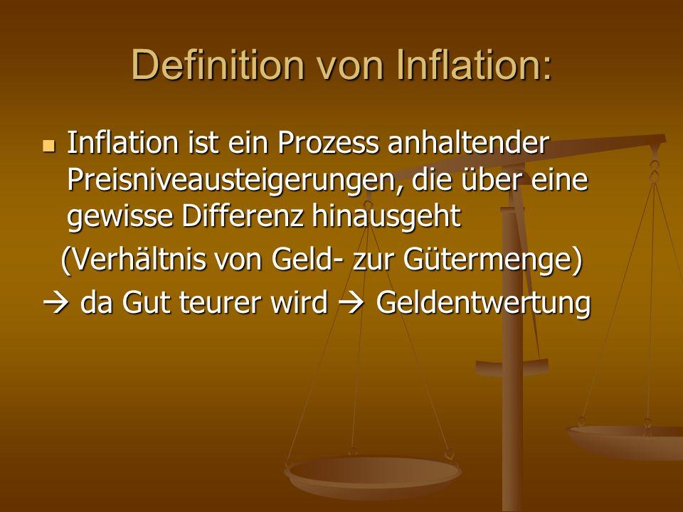 Definition von Inflation: Inflation ist ein Prozess anhaltender Preisniveausteigerungen, die über eine gewisse Differenz hinausgeht Inflation ist ein Prozess anhaltender Preisniveausteigerungen, die über eine gewisse Differenz hinausgeht (Verhältnis von Geld- zur Gütermenge) (Verhältnis von Geld- zur Gütermenge)  da Gut teurer wird  Geldentwertung