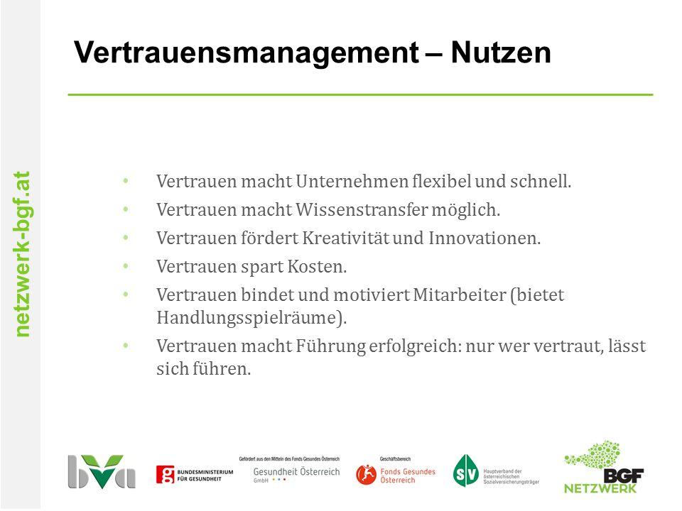 netzwerk-bgf.at Vertrauensmanagement – Nutzen Vertrauen macht Unternehmen flexibel und schnell.