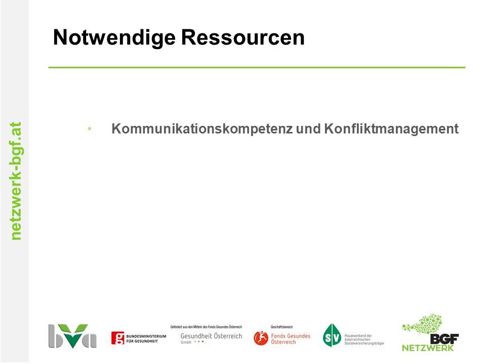 netzwerk-bgf.at Notwendige Ressourcen Kommunikationskompetenz und Konfliktmanagement