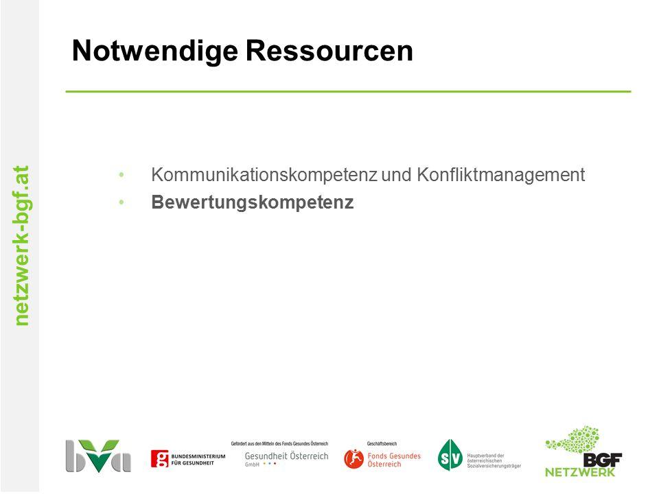 netzwerk-bgf.at Notwendige Ressourcen Kommunikationskompetenz und Konfliktmanagement Bewertungskompetenz