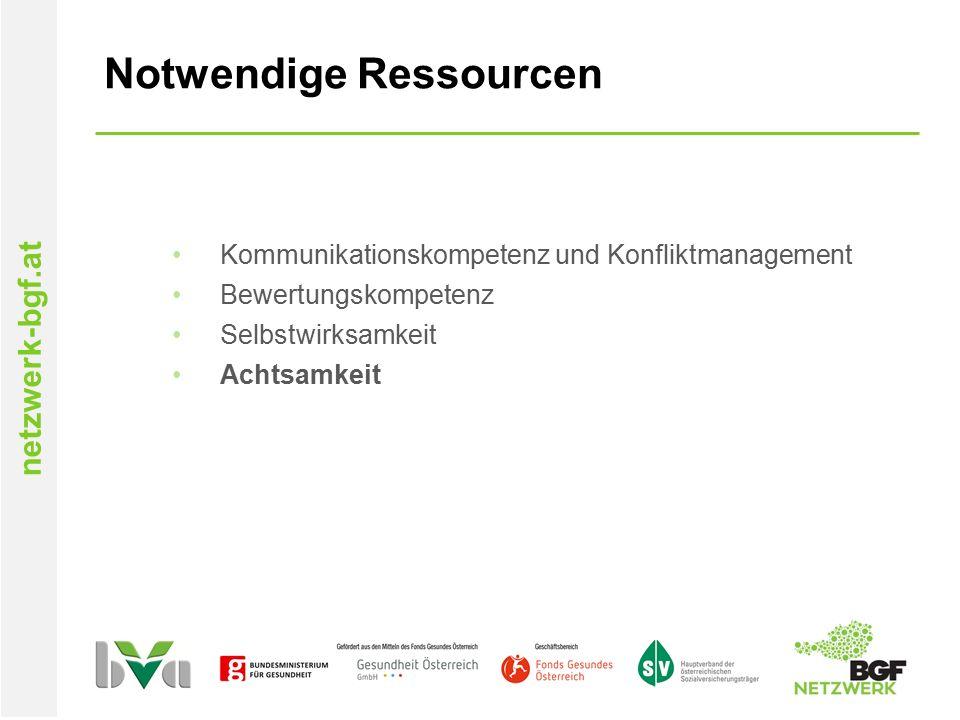 netzwerk-bgf.at Notwendige Ressourcen Kommunikationskompetenz und Konfliktmanagement Bewertungskompetenz Selbstwirksamkeit Achtsamkeit