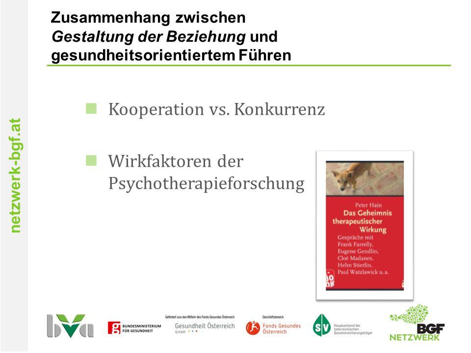 netzwerk-bgf.at Zusammenhang zwischen Gestaltung der Beziehung und gesundheitsorientiertem Führen Kooperation vs.
