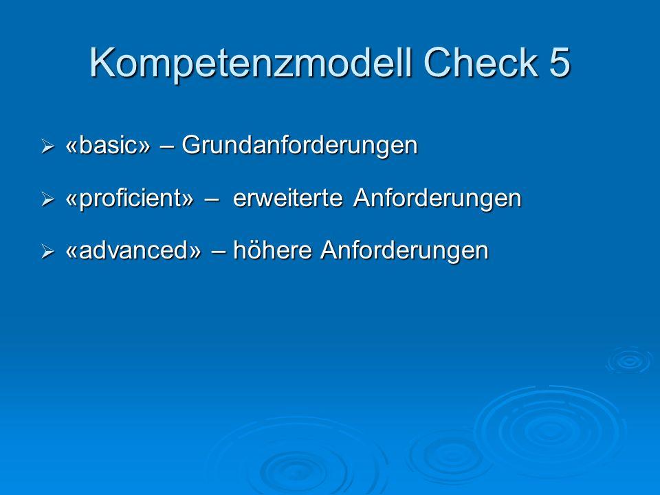 Kompetenzmodell Check 5  «basic» – Grundanforderungen  «proficient» – erweiterte Anforderungen  «advanced» – höhere Anforderungen