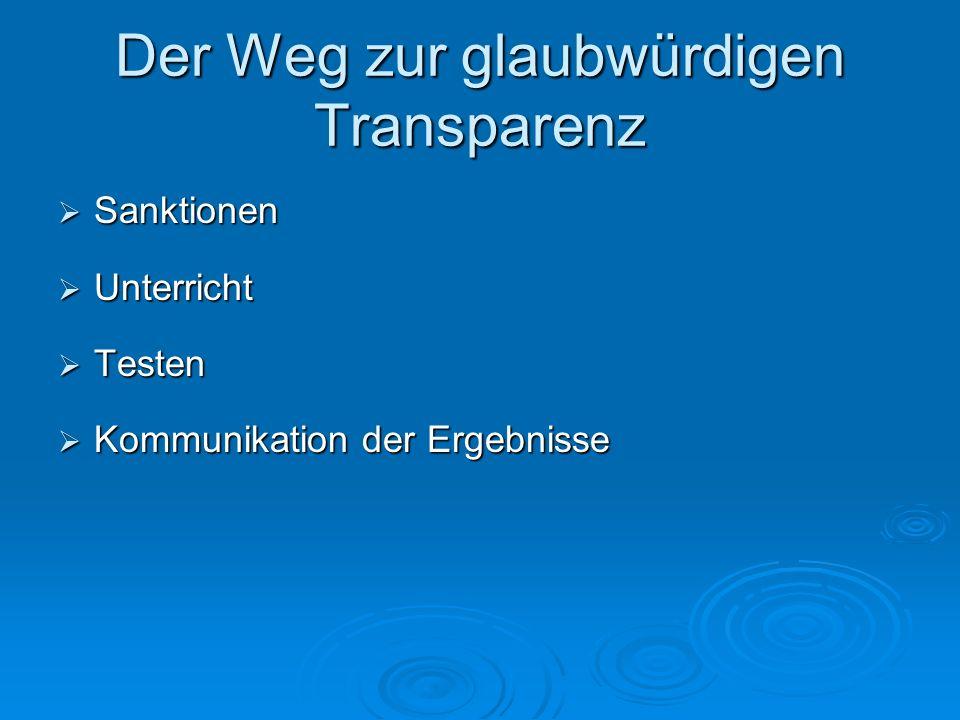Der Weg zur glaubwürdigen Transparenz  Sanktionen  Unterricht  Testen  Kommunikation der Ergebnisse