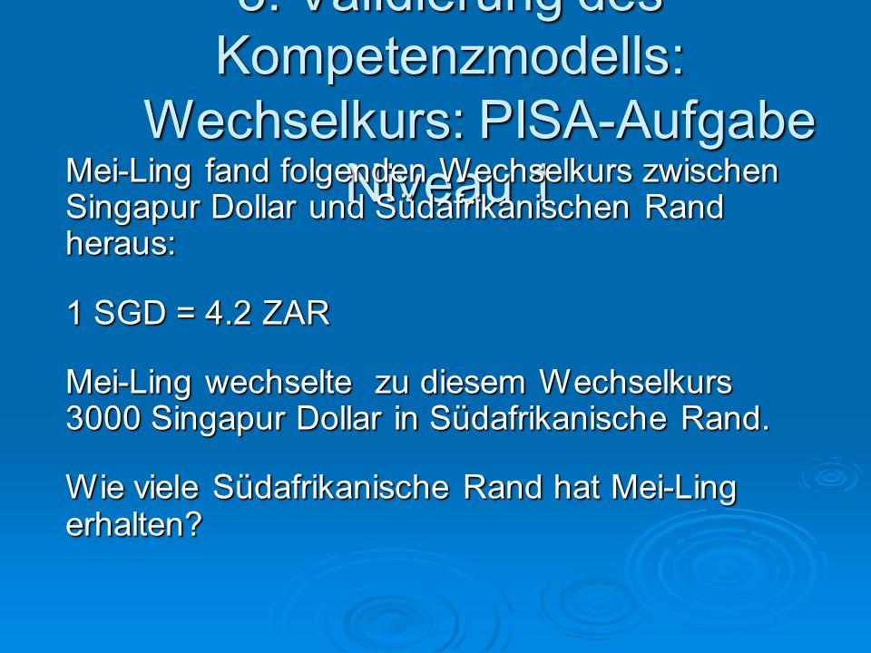 3. Validierung des Kompetenzmodells: Wechselkurs: PISA-Aufgabe Niveau 1 Mei-Ling fand folgenden Wechselkurs zwischen Singapur Dollar und Südafrikanisc