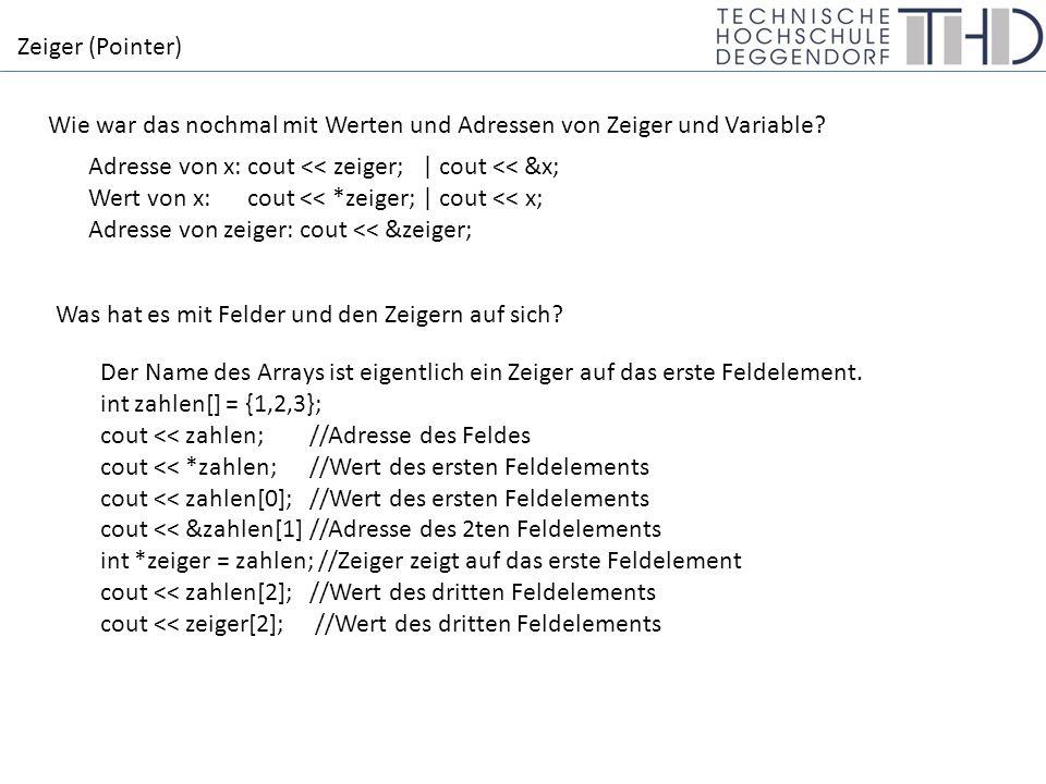 Zeiger (Pointer) Wie war das nochmal mit Werten und Adressen von Zeiger und Variable.