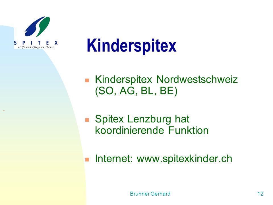 Brunner Gerhard12 Kinderspitex Kinderspitex Nordwestschweiz (SO, AG, BL, BE) Spitex Lenzburg hat koordinierende Funktion Internet: www.spitexkinder.ch